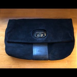 Furla Rare Suede Fold Over Purse From Italy Black
